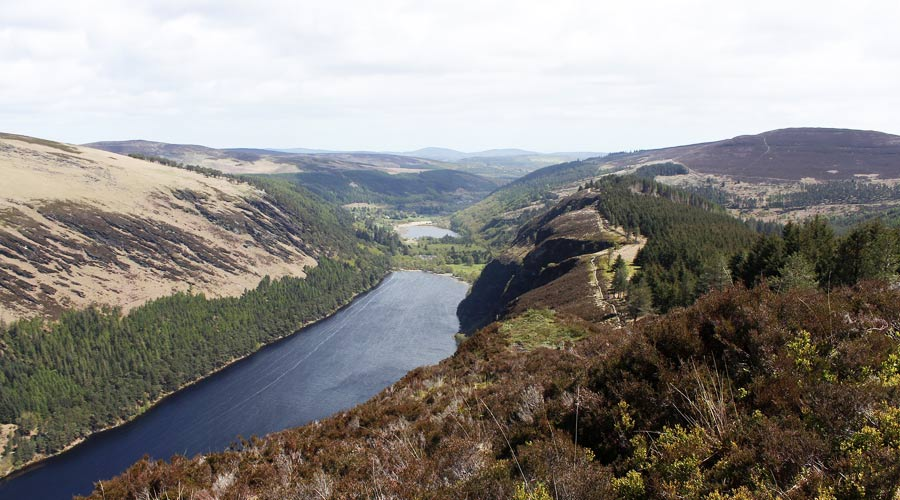 View of Glendalough lake & mountains